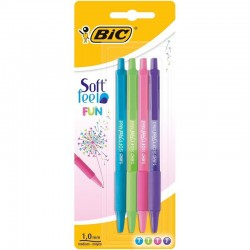 BOLIGRAFO BIC SOFT FEEL PACK-4