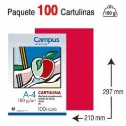 CARTULINA A4 COLOR ROJA...